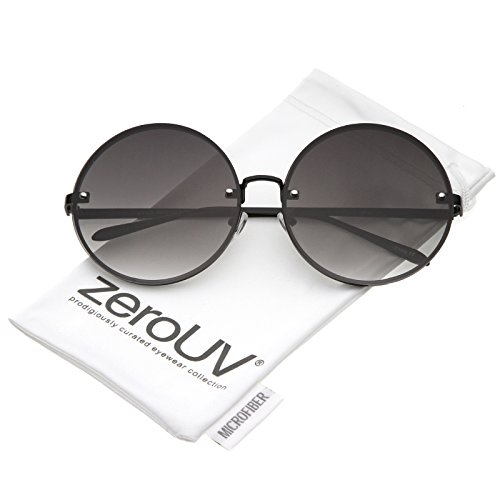 (zeroUV - Oversize Rimless Slim Metal Temple Neutral Colored Flat Lens Round Sunglasses 65mm)