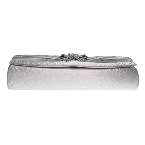 Evening Wedding Clutch Purses Womens For 3D Silver FASHIONROAD Pleated Clutch Rhinestone amp; Floral Party F1nCSwqx
