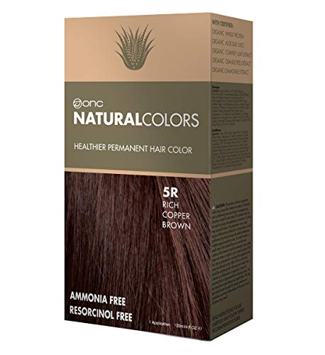 ONC NATURALCOLORS 5R Rich Copper Brown Healthier Permanent Hair Color Dye 4 fl. oz. (120 mL) with Certified Organic Ingredients, Ammonia-free, Resorcinol-free, Paraben-free, Low pH, Salon Quality, Eas