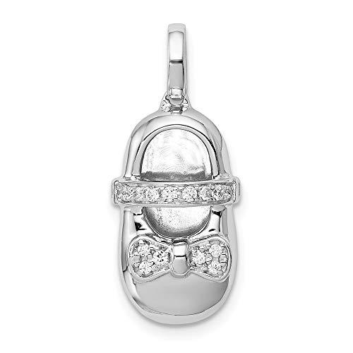 14k White Gold Diamond Baby Girl Shoe Pendant, 14 kt White Gold ()