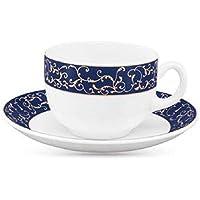 LaOpala Diva Sovrana Anassa Glass Cup and Saucer (Blue-White) Set of 6 -12 Pcs
