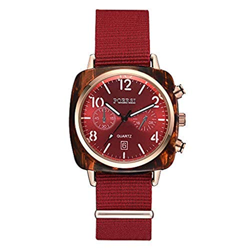 Watches Clearance,Luxury Temperament Square Dial Canvas Watchband Watch Analog Quartz Watch(Red) (Red Canvases)