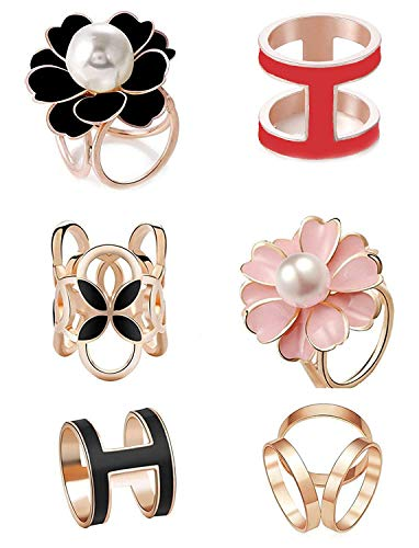 Faux Pearl Rhinestone Ring - 6pcs Women's Fashion Flover Faux Pearl Crystal Rhinestone Scarf Ring Buckle Clip