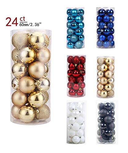 (YOHO BUY 24ct Xmas Tree Balls Christmas Ball Ornaments Shatterproof Decoration for Home Wedding Party Decoration, Themed Tree Skirt(Not Included) (Gold))