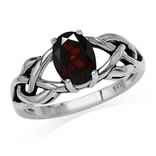 (1.4ct. Natural Garnet 925 Sterling Silver Celtic Knot Solitaire Ring Size 6)
