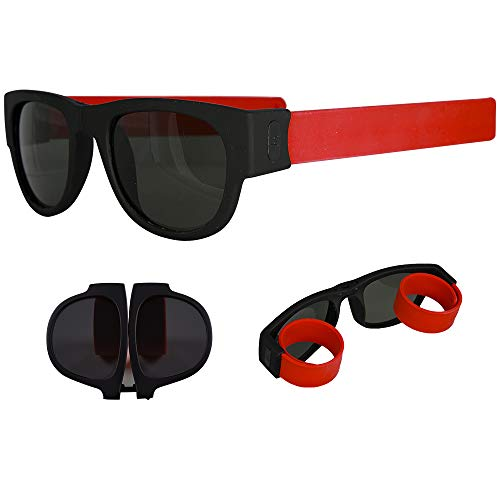 29af96eeaf7 Galleon - Foldable Sunglasses - Flexible Silicone Frame And Temples With Non -Polarized Lenses - Roll And Clip On Clothing