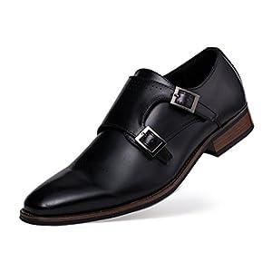 83a6e22e4197bb Jivana Mens PU Leather Classic Oxford Dress Shoes Double Monk Strap Buckle