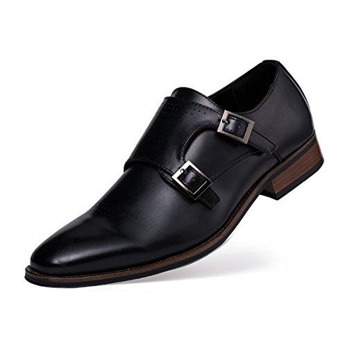 Jivana Men's Classic Oxford Dress Shoes Double Buckle Monk Strap