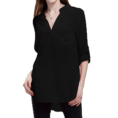 Manches Cou Chemises Porter Femmes Casual Mousseline Blouse Mince Longues Travail De Blouse Hibote Blanc Dames De Soie lgantes V Chemises Noir Tops Bureau ACqwX