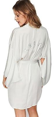 Victoria's Secret Dream Angels New! Rhinestone Short Satin Kimono Medium/Large White NWT
