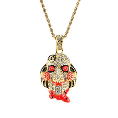 (6ix9ine Saw Billy Inspired Pendant Necklace Silver/Gold Plated Ice Out Hip Hop The Saw Clown Chain)
