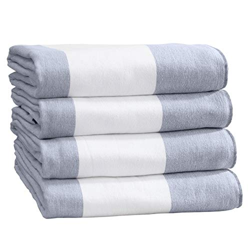 Great Bay Home 4 Pack 100% Combed Cotton Cabana Stripe 30