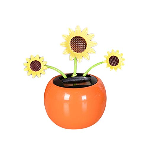 Pausseo Halloween Decor - Sun Flower Solar Energy Automatic Powered Dancing Skull Creative Swinging Animated Bobble Dancer Toy Car Decoration (E)]()