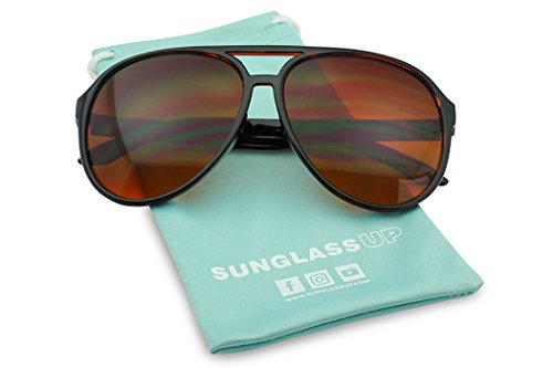 Sunglass Stop - Blue Blocking Over sized Round Bomber Aviator Sunglasses Amber Tinted Lens (Tortoise, Amber (Blue Buster - Glasses Ditka