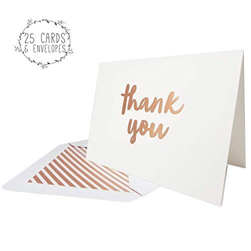 25 Thank You Cards with Envelopes | Available in Gold and Rose Gold Foil Letterpress | Premium and Thick Textured Cardstock | Blank Inside | Perfect for Weddings, Baby Showers and more