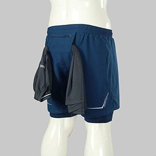 1ショーツメンズ速乾性通気性のアクティブトレーニングスポーツジョギング・マラソンサイクリングフィットネスで2 (Color : Dark Blue-2, Size : XXL(EU))