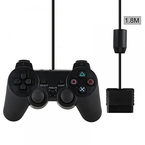 QMET PS2 Wired Controller for Sony PlayStation 2 Black ()
