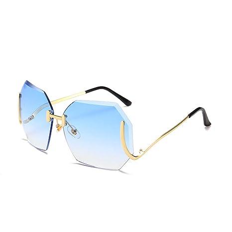 Yangjing-hl Gafas de Sol de Moda Color Marino sin Marco ...