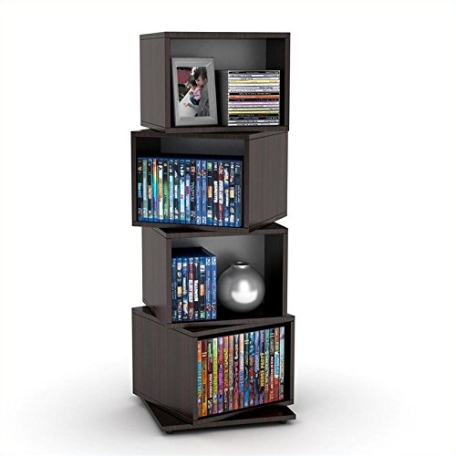 Atlantic 2823-5872 Rotating Cube 4-Tier Espresso Multimedia Storage Tower by Atlantic