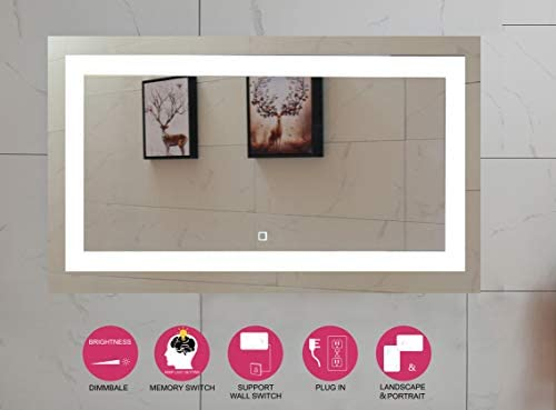 48X28 Inch LED Lighted Bathroom Mirror with Dimmable Touch Switch GS099D-4828