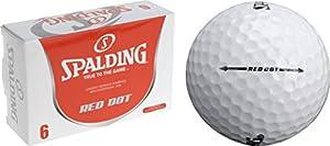 Spalding Golfbälle, Rot gepunktet, 6 Stück, weiß