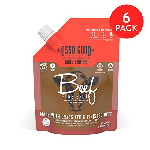 Osso Good Beef Bone Broth, 6 - 16 Ounce Pouches, High in Protein & Collagen, Ships Frozen