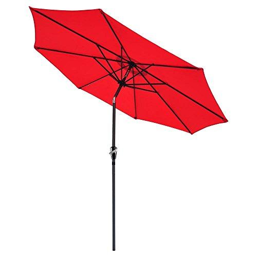 Yeshom 9ft Outdoor Garden Patio Aluminium Umbrella Table Parasol Push Button Crank Tilt Red by Yeshom