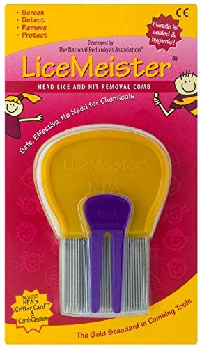 LiceMeister Head Lice & Nit Removal Comb, 1 School-Approved Lice Comb, Stainless Steel, Cleaning Tool Included, No Shampoo/Pesticides ()