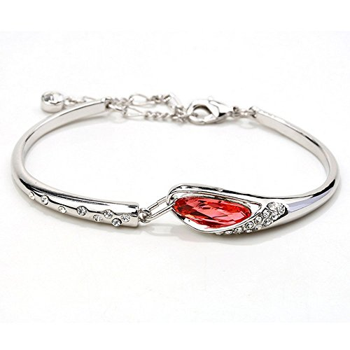 Winter's Secret Silver Plated Fashion Accessories Lobster Clasp Red Diamond Studed Bangle Bracelet