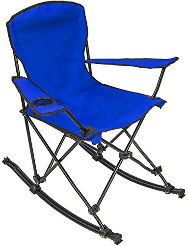 Sorbus Quad Rocking Chair with Cup Holder Cooler, Foldable Frame, and Portable Carry Bag, Recliner Chair Great Outdoor Chair for Camping, Sporting Events, Travel, Backyard, Patio (Blue)
