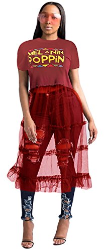 (Qikaka Women's Short Sleeve O Neck Printed Mesh Paneled Ruffles See-Through Sexy Party Cocktail Dress (S, red))