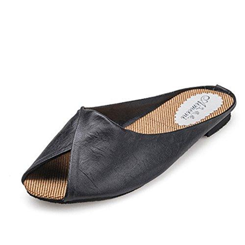 Gaorui womens faux leather slippers peep toe block sandals mules indoor slippers Black awZkW