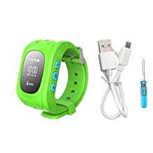 Juneo Smart Watch GPS Tracker for Children 2 Way Communication GPS+LBS+AGPS Location Student/Kids with pedometer Fitness Q50(Green)