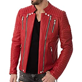 Iftekhar Mens RED Motorcycle Biker Jacket