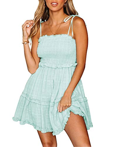 (LEANI Women's Summer Spaghetti Strap Solid Color Ruffle Backless A Line Beach Short Dress (Green-1, S))