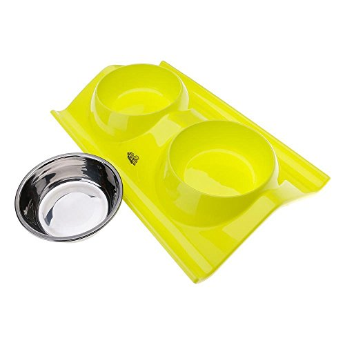 S&M TREADE-Stainless Steel Twin Pet Bowl Dog Cat Water Food Non Slip Feeder Feeding Station - Station In Store Coupon Watch