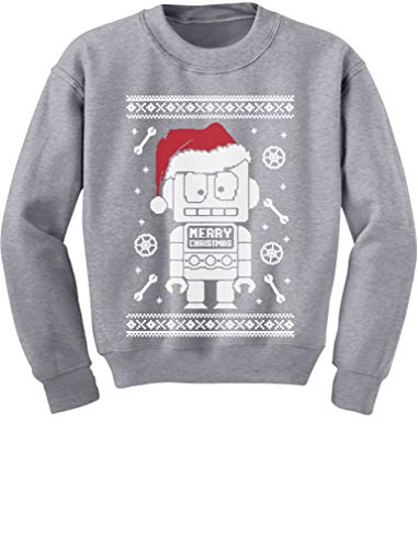 TeeStars - Cute Robot Santa Ugly Christmas Sweater - Funny Xmas Kids Sweatshirt Large -