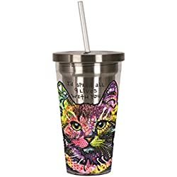 Spoontiques Dean Russo Cat Stainless Steel Cup with Straw, , Multi