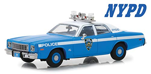 - 1975 Plymouth Fury New York City Police Department (NYPD) Blue with White Top 1/43 Diecast Model Car by Greenlight 86535