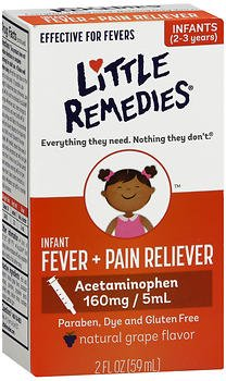 Little Remedies For Fevers Infant Fever/Pain Reliever Natural Grape Flavor - 2 oz, Pack of 6