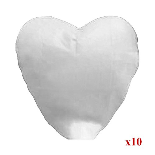 Alrens_DIY(TM) Pack of 10 Love Heart Shaped Chinese Sky Fly Fire Paper Lanterns Wish Balloon Wishing Lamp for Wedding Birthday Christmas Party Celebration Lanterns (White) ()