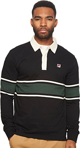 Button Front Game Jersey (Fila Men's Peter Rugby Black/Sycamore/Gardenia X-Large)