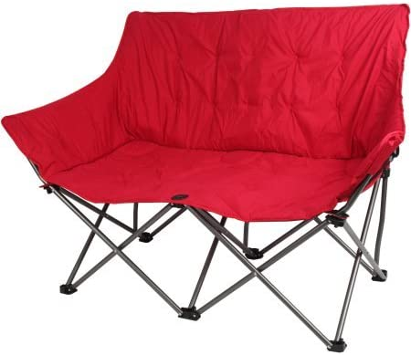 Outdoor Plush Folding Padded Love Seat Chair, Red