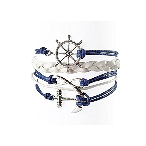 Mr.S Shop Nautical Bracelets for Women Navy Rudder Anchor Braided Weave Leather Rope Leisure Bracelet Style