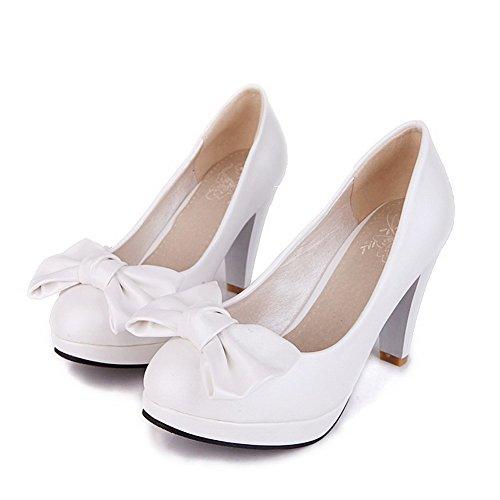 Allhqfashion Donna Tinta Unita In Velluto A Punta Tonda Tacco A Spillo Scarpe-scarpe Con Fiocchi Bianchi