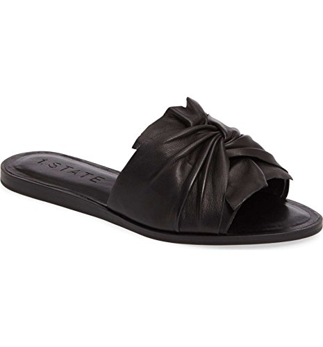1. State Womens Chevonn Leather Open Toe Casual Slide Sandals, Black, Size 6.0