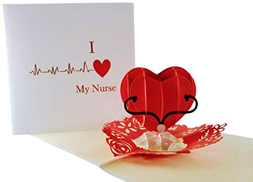 iGifts And Cards Unique I Heart My Nurse 3D Pop Up Greeting Card - Thank You, Happy Birthday, Appreciation, Congrats, Half-Fold, Love, Funny, Best, Medical, Healthcare, Hospital, Wonderful, Special -