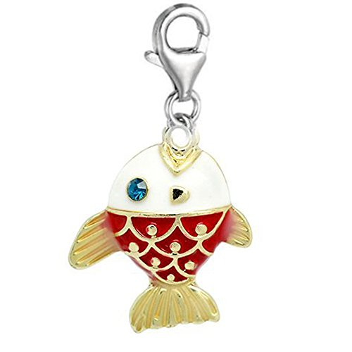 SEXY SPARKLES Clip on bas Fish Charm Dangle Pendant for European Clip on Charm