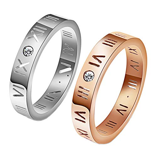 HIJONES Mens Womens Stainless Steel Roman Numerals Ring CZ Rose Gold Silver Hollow Out Band, Size ()