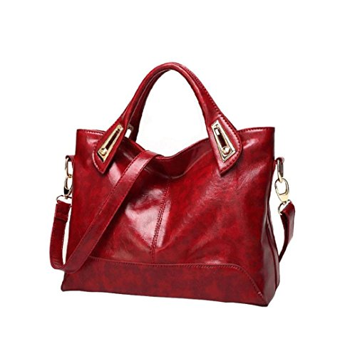 Rojo 32cm 14 handbag hombro de retro de Mujer Tote W cuero 5cm PU L de Capacidad Bolso PU suave 24 para Bolso Tote Cuero mensajero H LuckES mujer 5cm Gran wx1AgqzCn